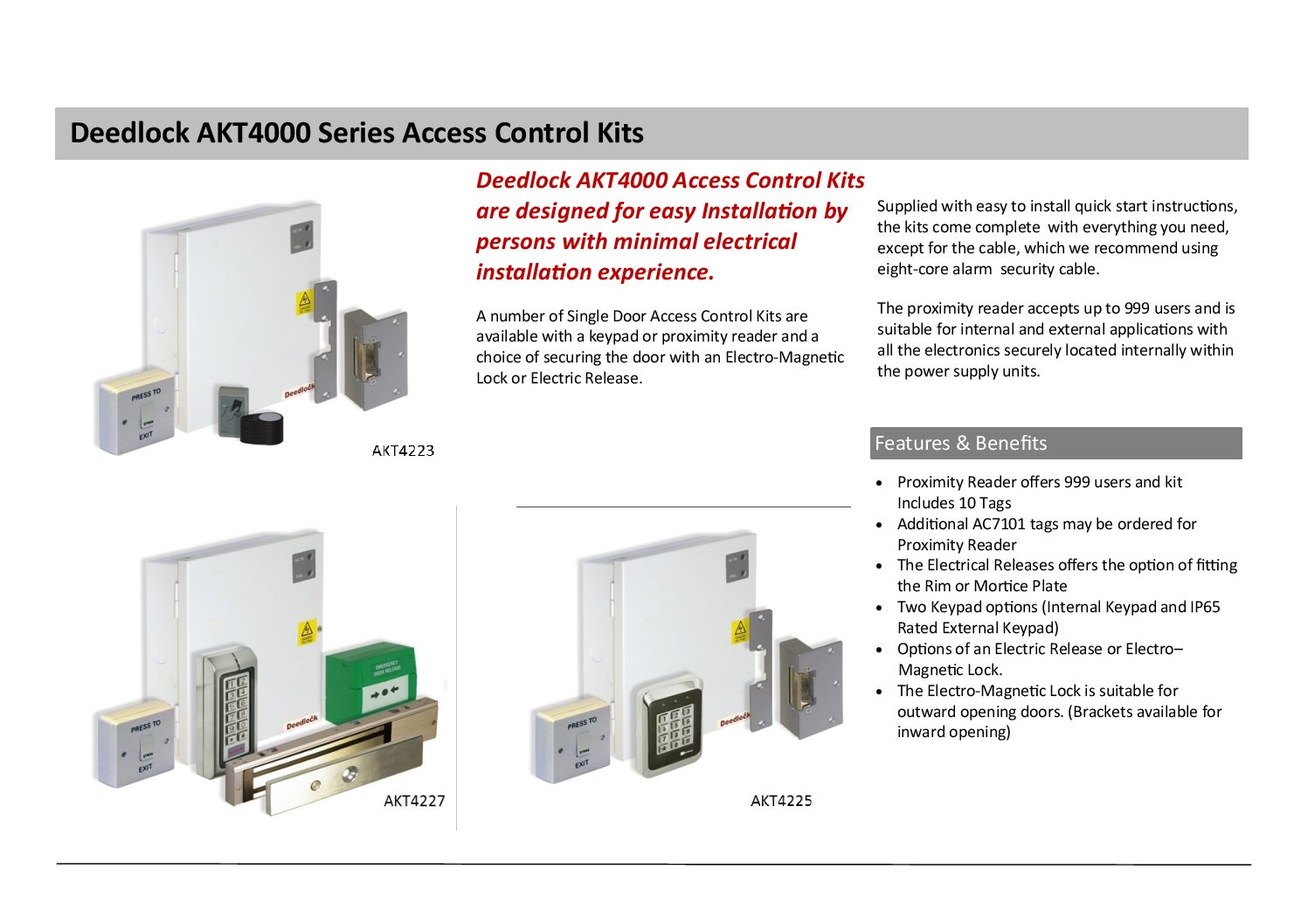 Deedlock AKT4000 Series Access Control Kits